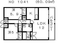 ハーヴェスト今川2番館[3階]の間取り