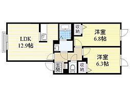 北海道札幌市東区北47条東15丁目の賃貸アパートの間取り