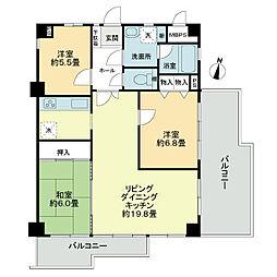ライオンズマンション芦屋西[6階]の間取り