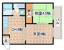 兵庫県神戸市中央区中山手通7丁目の賃貸アパートの間取り