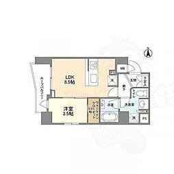 京王線 上北沢駅 徒歩8分の賃貸マンション 9階1LDKの間取り