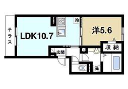 アージュI 1階1LDKの間取り