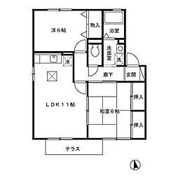 フモト・ブラッサムI[1階]の間取り