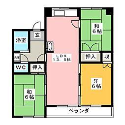 ハウジング六条[2階]の間取り