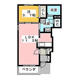 サニーヒルA・B[1階]の間取り