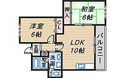 大阪府豊中市上野東2丁目の賃貸マンションの間取り