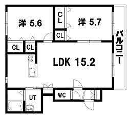 ヴィラ・ドゥ アカシヤA棟 2階2LDKの間取り
