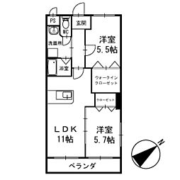 ワンズホーム北野 1階[106号室]の間取り