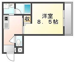 JR山陽本線 福山駅 徒歩10分の賃貸マンション 3階1Kの間取り