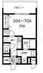 都営大江戸線 両国駅 徒歩10分の賃貸マンション 7階1Kの間取り
