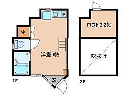 長野電鉄長野線 本郷駅 徒歩15分の賃貸アパート 1階1Kの間取り