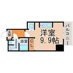 名古屋市営東山線 亀島駅 徒歩3分の賃貸マンション 9階ワンルームの間取り