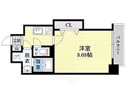ドゥエリングASAHI 4階1Kの間取り