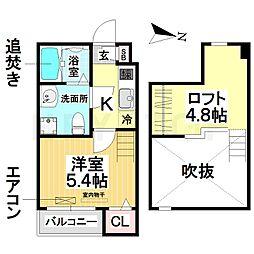 愛知県名古屋市南区堤町4の賃貸アパートの間取り