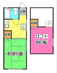 埼玉県新座市菅沢2丁目の賃貸アパートの間取り