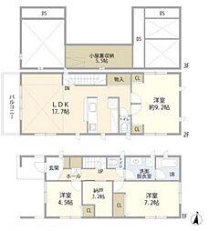 西武新宿線 沼袋駅 徒歩8分の賃貸一戸建て 3LDKの間取り