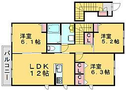 セントリビエB[2階]の間取り