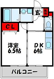 JR鹿児島本線 赤間駅 徒歩11分の賃貸マンション 3階1DKの間取り