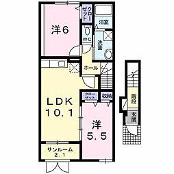新潟県村上市鍛冶町の賃貸アパートの間取り