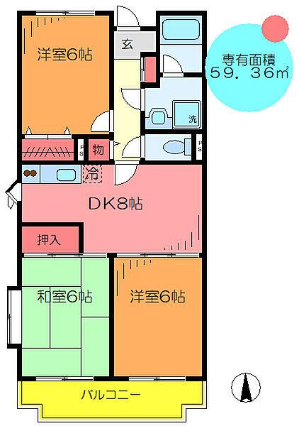 東京都葛飾区お花茶屋3丁目の賃貸マンションの間取り