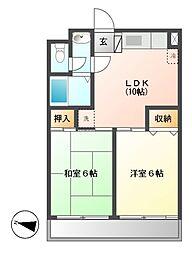グリーンサンハイツ 12b[3階]の間取り