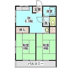 サニーハイツI[203号室]の間取り