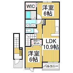 長野電鉄長野線 日野駅 徒歩9分の賃貸アパート 2階2LDKの間取り