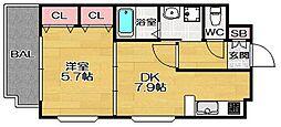 福岡県福岡市南区弥永4丁目の賃貸マンションの間取り