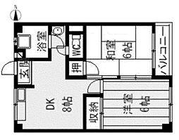 甲陽園東山ハイツ[2階]の間取り