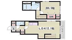 神鉄粟生線 三木上の丸駅 徒歩4分の賃貸アパート 1階1LDKの間取り