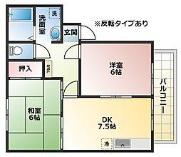 大阪府八尾市山城町3丁目の賃貸アパートの間取り