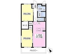JR長崎本線 肥前麓駅 徒歩3分の賃貸マンション 3階2LDKの間取り