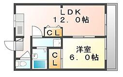 岡山県笠岡市吉浜の賃貸アパートの間取り