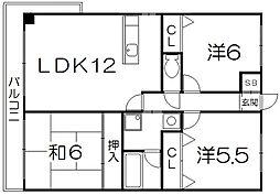 ロックフィールド[3階]の間取り