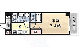 レクシア平野 4階1Kの間取り