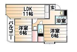 エルパラッツォ三田[2階]の間取り