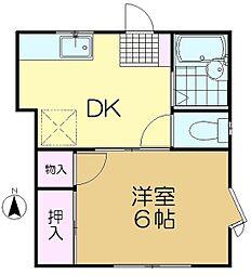 ドミ・チグサ[1階]の間取り