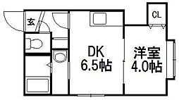 北海道札幌市中央区南九条西9丁目の賃貸アパートの間取り