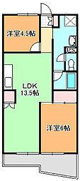 シオヤハイツ[203号室]の間取り