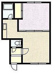 樋口マンションG棟 1階1DKの間取り