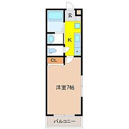 JR日光線 鶴田駅 徒歩5分の賃貸アパート 2階1Kの間取り