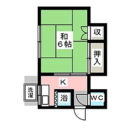 愛知県豊明市新栄町2丁目の賃貸アパートの間取り