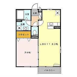 福岡県福岡市早良区次郎丸3丁目の賃貸アパートの間取り