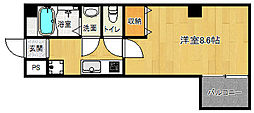 京都市営烏丸線 北大路駅 徒歩20分の賃貸マンション 5階1Kの間取り