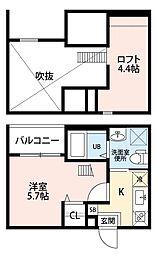 愛知県名古屋市西区中小田井1丁目の賃貸アパートの間取り
