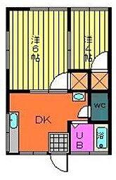 千葉県市川市中山2丁目の賃貸アパートの間取り