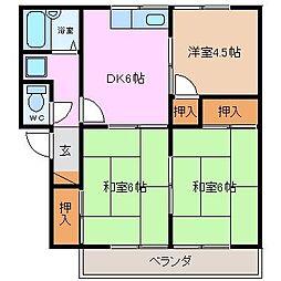 プレジール伊倉[B207号室]の間取り