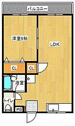 エルモア青川 2階1LDKの間取り