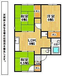 福岡県北九州市小倉南区中曽根6丁目の賃貸アパートの間取り