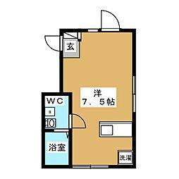 ウィング糀谷 3階ワンルームの間取り